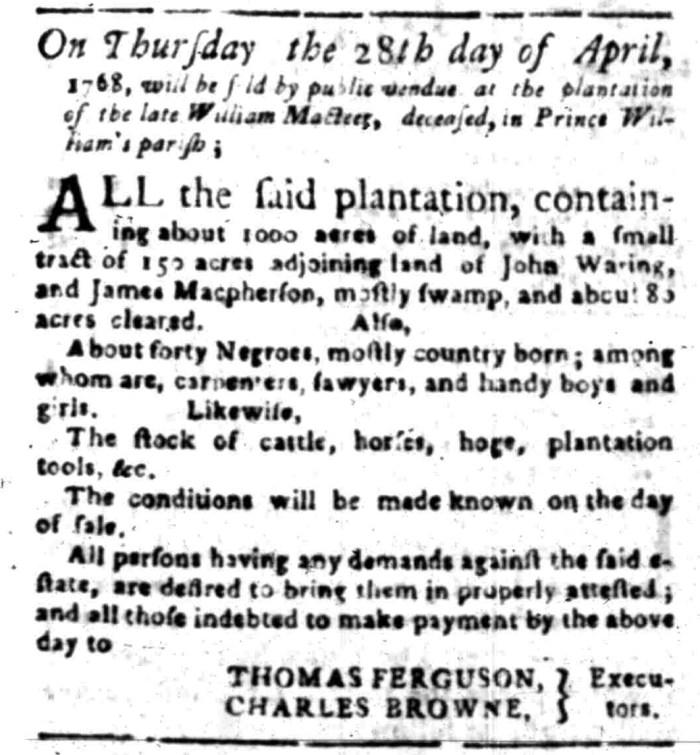 Apr 4 - South Carolina Gazette Slavery 2