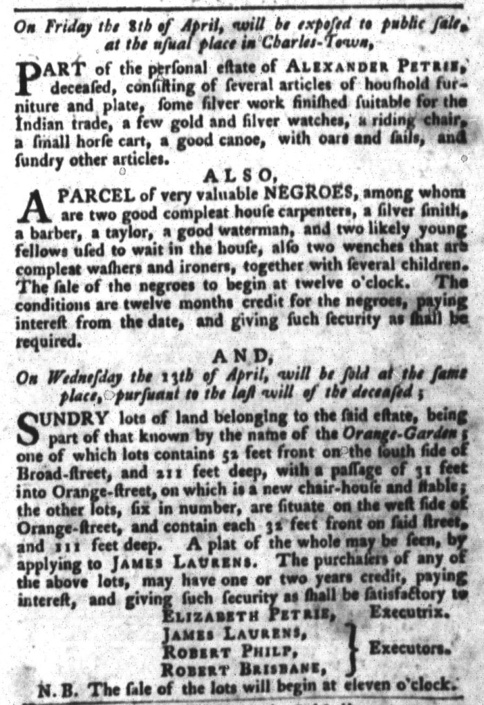 Apr 5 - South-Carolina Gazette and Country Journal Slavery 7