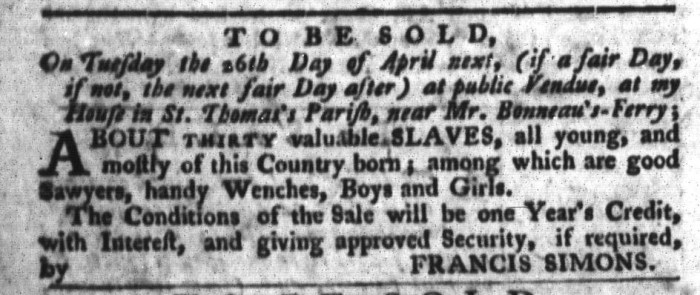 Apr 5 - South-Carolina Gazette and Country Journal Slavery 8