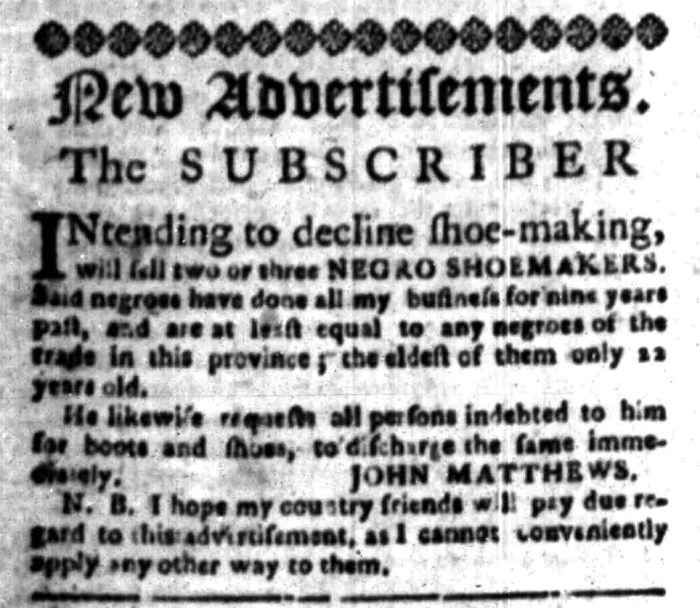 Mar 14 - South Carolina Gazette Slavery 1