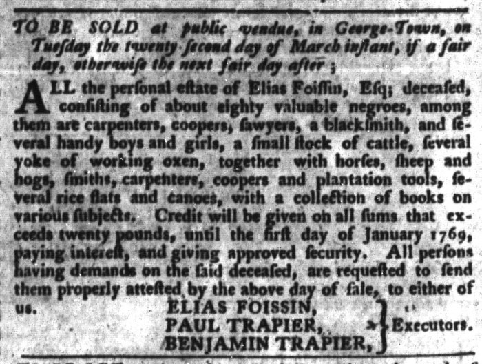 Mar 15 - South-Carolina Gazette and Country Journal Supplement Slavery 4