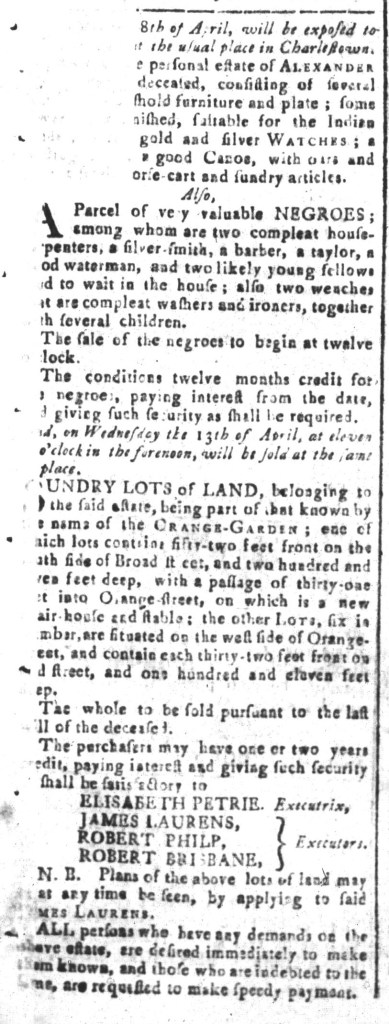 Mar 18 - South-Carolina and American General Gazette Slavery 1