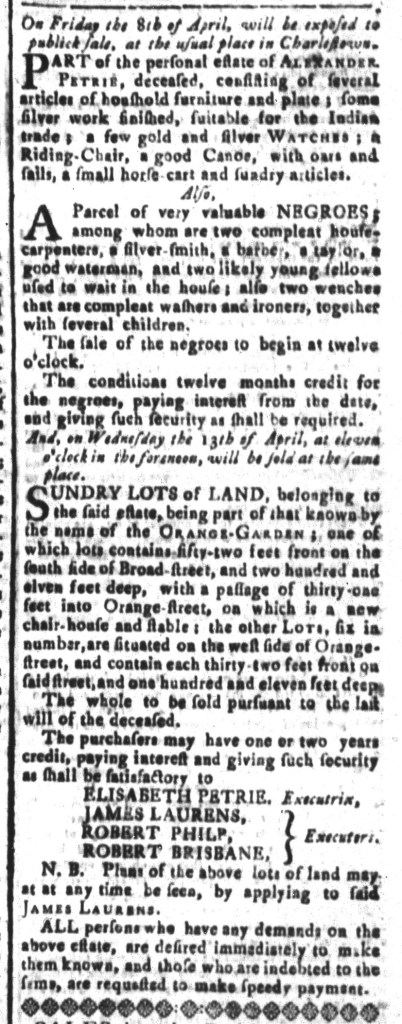 Mar 25 - South-Carolina and American General Gazette Slavery 11