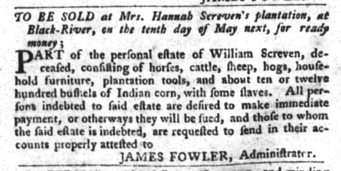 Mar 29 - South-Carolina Gazette and Country Journal Slavery 2