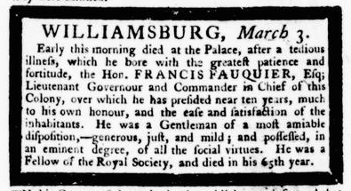 Mar 3 - 3:3:1768 Announcement Virginia Gazette Purdie and Dixon