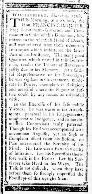 Mar 3 - 3:3:1768 Announcement Virginia Gazette Rind