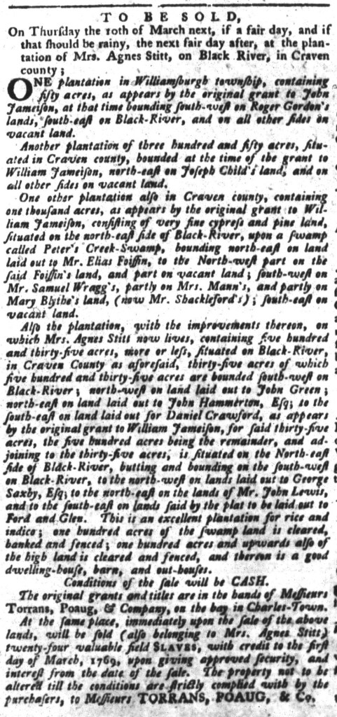 Mar 8 - South-Carolina Gazette and Country Journal Supplement Slavery 4