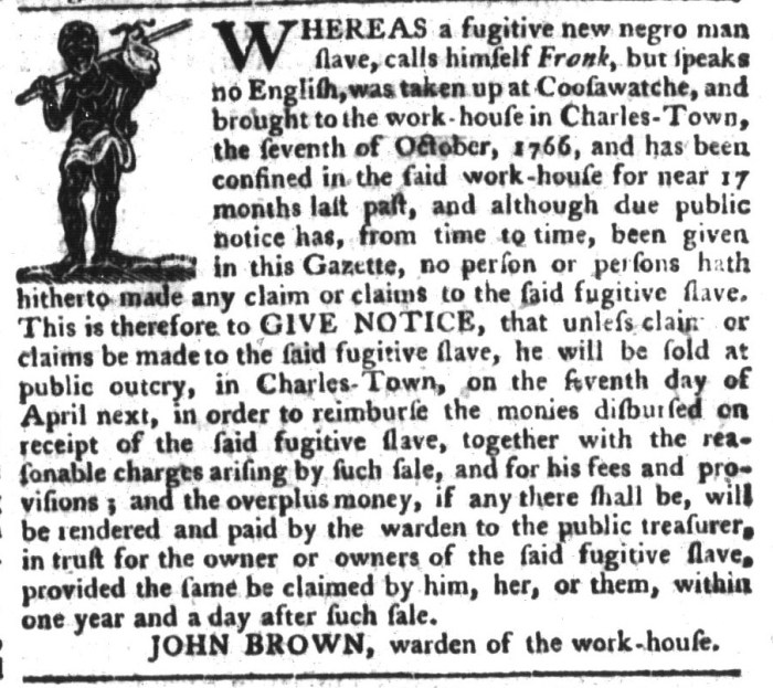Mar 8 - South-Carolina Gazette and Country Journal Supplement Slavery 7