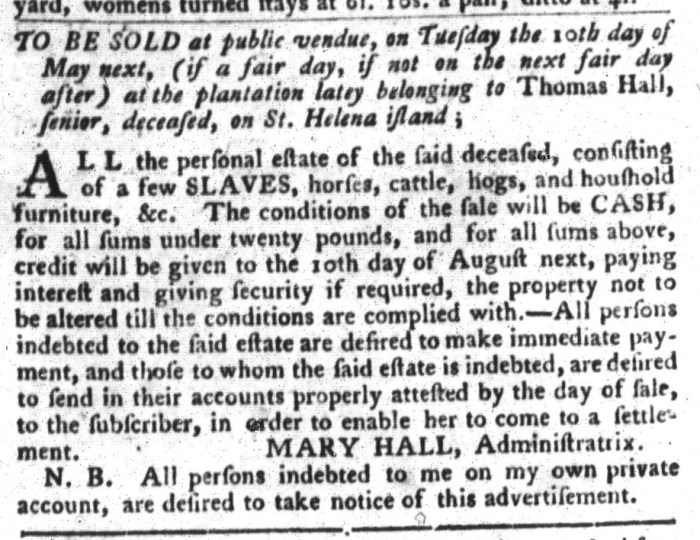 Apr 26 - South-Carolina Gazette and Country Journal Slavery 10