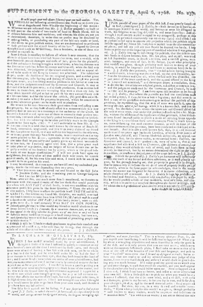 Apr 6 - 4:6:1768 Page 1 Georgia Gazette Supplement