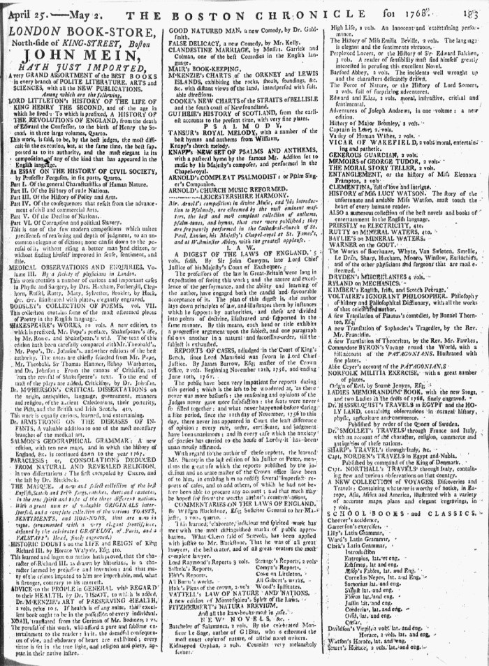 May 2 - 5:2:1768 Page 183 Boston Chronicle Supplement