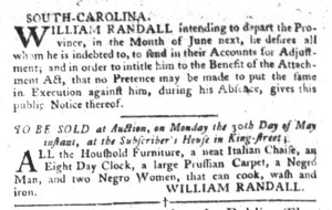 May 3 - South-Carolina Gazette and Country Journal Supplement Slavery 1