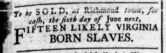 May 12 - Virginia Gazette Rind Slavery 4