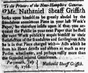 Jul 8 - 7:8:1768 New-Hampshire Gazette