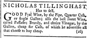Jun 11 - 6:11:1768 Tillinghast 2 Providence Gazette
