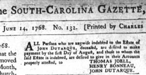 Jun 15 - 6:14:1768 South-Carolina Gazette and Country Journal