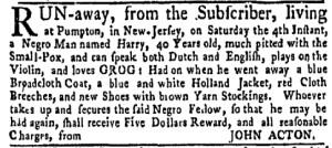 Jun 27 - New-York Gazette Weekly Mercury Slavery 2