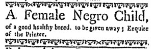 Jun 30 - Boston Weekly News-Letter Postscript Slavery 1