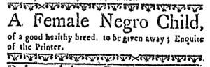 Jun 30 - Boston Weekly News-Letter Postscript Slavery 1