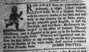 Jun 7 - South-Carolina Gazette and Country Journal Supplement Slavery 4
