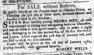 Jun 7 - South-Carolina Gazette and Country Journal Supplement Slavery 6