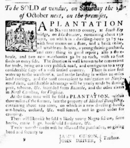 Aug 4 - Virginia Gazette Purdie and Dixon Slavery 1