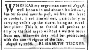 Aug 5 - South-Carolina and American General Gazette Slavery 1