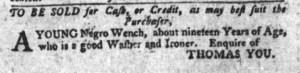 Jul 19 - South-Carolina Gazette and Country Journal Slavery 2