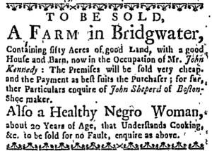 Aug 18 - Boston Weekly News-Letter Slavery 1