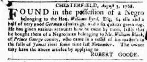 Aug 18 - Virginia Gazette Purdie and Dixon Slavery 1