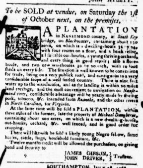 Aug 18 - Virginia Gazette Purdie and Dixon Slavery 5