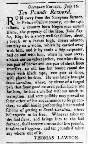 Aug 18 - Virginia Gazette Rind Slavery 6