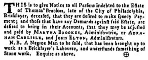 Aug 25 - Pennsylvania Gazette Supplement Slavery 1