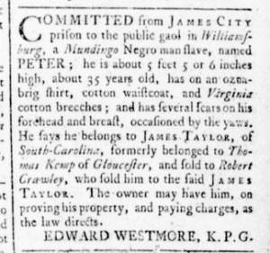 Aug 25 - Virginia Gazette Rind Slavery 5