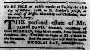 Oct 3 - South-Carolina Gazette Slavery 6