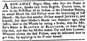 Sep 13 - South-Carolina Gazette and Country Journal Slavery 2