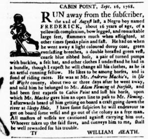Sep 15 - Virginia Gazette Purdie and Dixon Slavery 1