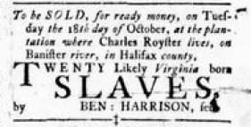 Sep 15 - Virginia Gazette Rind Slavery 1