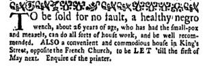 Sep 19 - New-York Gazette Weekly Mercury Supplement Slavery 1