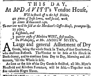 Sep 26 - New-York Gazette Weekly Mercury Slavery 1