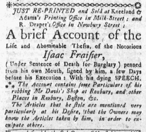 Sep 29 - 9:29:1768 Boston Weekly News-Letter Postscript