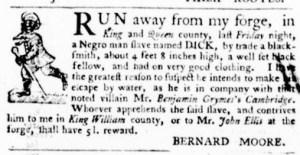 Sep 29 - Virginia Gazette Purdie and Dixon Slavery 1