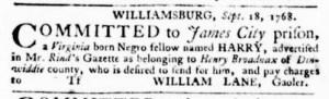 Sep 29 - Virginia Gazette Purdie and Dixon Slavery 3