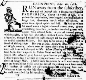 Sep 29 - Virginia Gazette Purdie and Dixon Slavery 9
