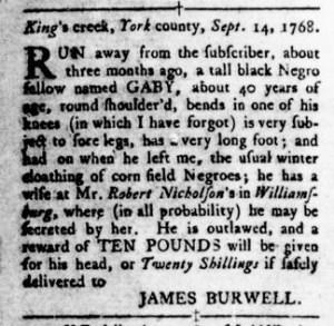 Sep 29 - Virginia Gazette Rind Slavery 8