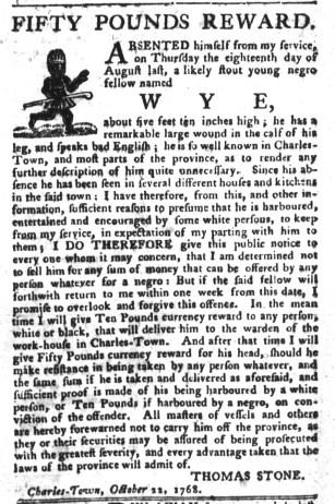 Nov 1 - South-Carolina Gazette and Country Journal Slavery 10