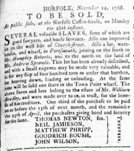 Nov 17 - Virginia Gazette Rind Slavery 2