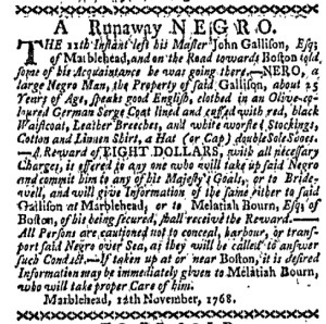 Nov 21 - Boston-Gazette Slavery 1