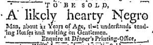 Nov 3 - Boston Weekly News-Letter Slavery 1