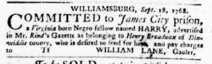 Nov 3 - Virginia Gazette Purdie and Dixon Slavery 13